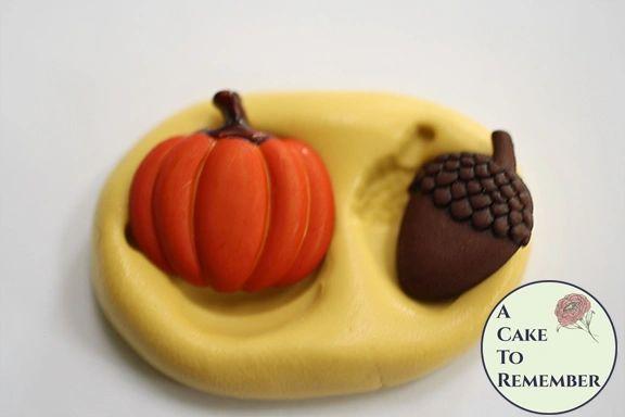 Pumpkin and acorn fall silicone rubber mold M5191