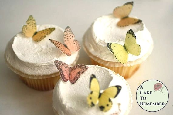 24 small edible butterflies, shades of yellow and orange