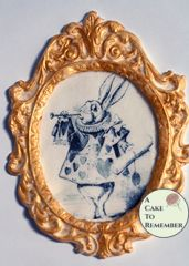 """5.5"""" tall framed classic Alice in Wonderland image for cake decorating."""