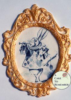 """Framed classic Alice in Wonderland image for cake decorating. 5.5"""" tall gumpaste frame. White Rabbit, Alice in Wonderland cake decorating"""
