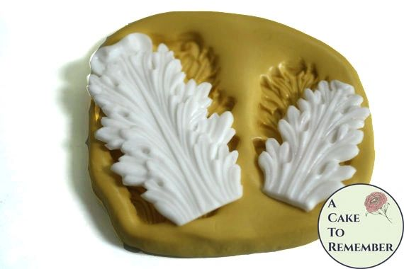 Rounded acanthus leaf scroll mold set for cake decorating, polymer clay. Cake supplies and cake silicone molds for DIY wedding cakes. M5042
