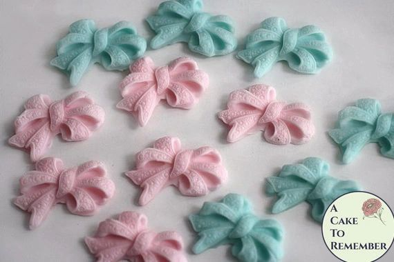 12 Fondant edible bows for gender reveal party cupcake topper.