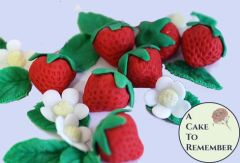 6 Gumpaste strawberries for cake decorating