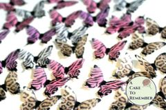 24 animal print edible cake decorating butterflies