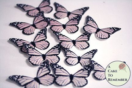 Blush pink cake decorating butterflies, 12 wafer paper monarchs