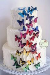 28 rainbow edible wafer butterflies for cupcake toppers.