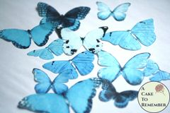12 large icy blue wafer paper edible butterflies for cakes