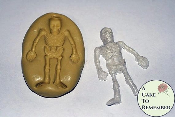 "Silicone Skeleton Mold, 1.75"" tall, for Halloween cupcake toppers M023"