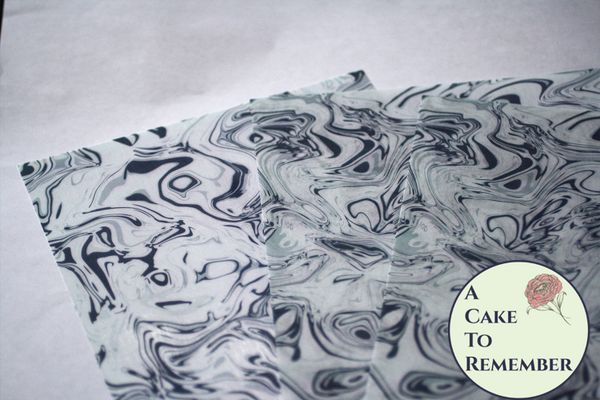White, black and grey marbled edible wafer paper- 3 sheets