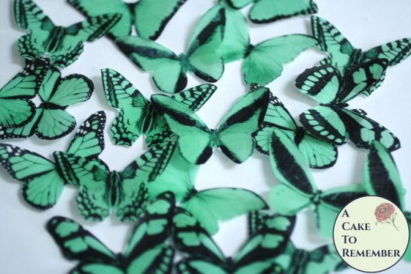 20 green edible butterflies for cupcake toppers