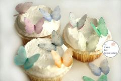 24 small pale pastels edible wafer butterflies for wedding cupcake toppers