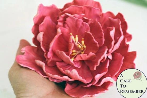 Gumpaste Peony wedding cake topper, cake decorating sugar flower, gumpaste flower, cake flower