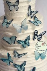 "20 2"" wide pale blue wafer paper edible butterfly cupcake toppers"