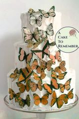 30 orange ombre wafer paper edible butterflies for cakes
