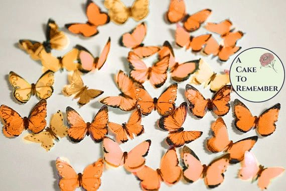48 small orange edible wafer paper butterflies