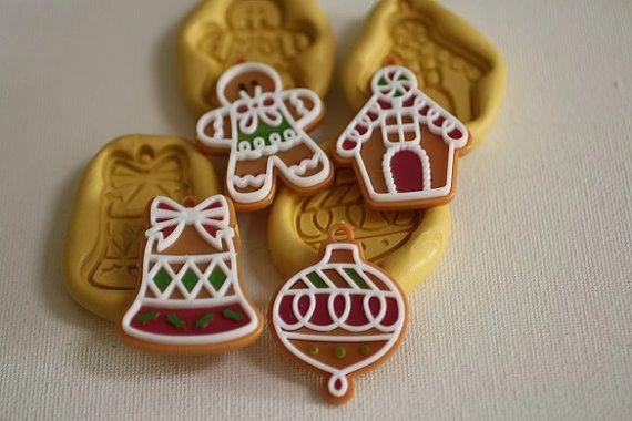 Christmas ornament silicone mold set for cake decorating M5054