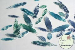 35 Wafer paper feathers, purple, green and blue colors in 3 small sizes