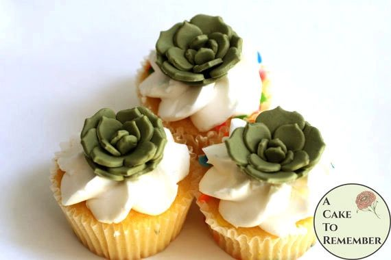12 small gumpaste edible succulents with flat petals