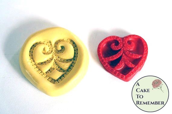 Jeweled heart mold for cake decorating or cupcake toppers M013