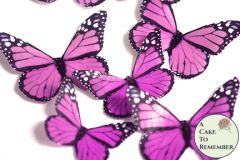 Edible butterflies, 12 pink edible wafer paper monarch butterflies for cake decorating, cupcake decorating