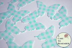24 teal gingham edible butterfly cupcake toppers