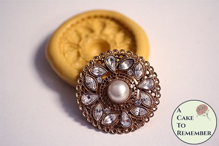 Round jeweled brooch silicone mold for cake decorating M5238