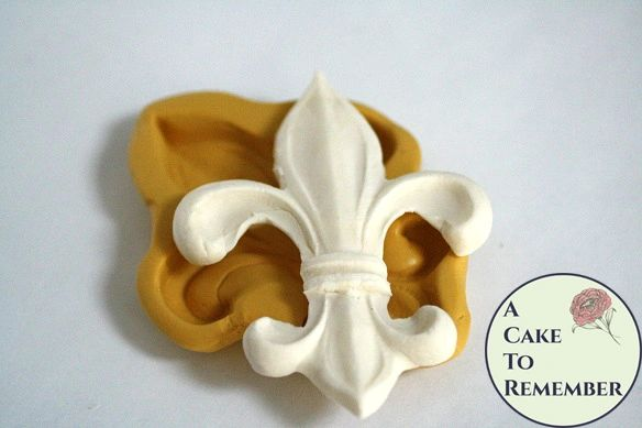 "Large Fleur de Lis silicone fondant or resin casting mold, about 3"" wide. M5112"