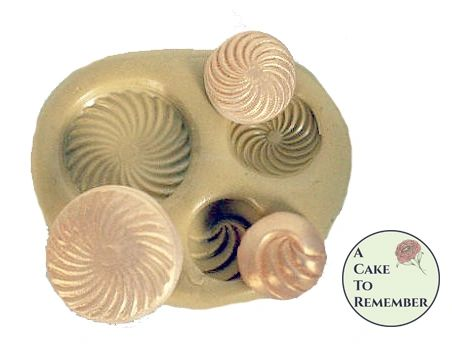 Silicone Swirly Buttons Mold for fondant or resin M20