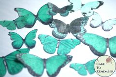 12 large green wafer paper edible butterflies for cakes