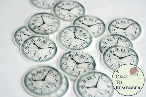 "Twelve 2"" pocketwatch clock faces for Alice in Wonderland cookies."