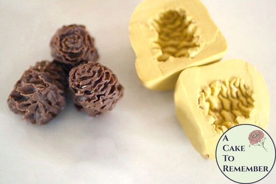 "Small 1"" tall two-sided silicone 3D pinecone mold"