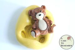 "1"" mini mold sitting teddy bear flexible silicone mold M5208"