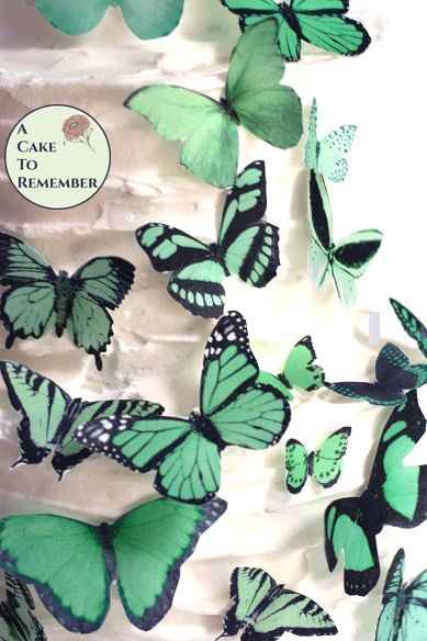 25 assorted green edible butterflies cupcake decoration toppers.