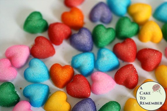 Rainbow heart quins, cupcake sprinkles, 56 total