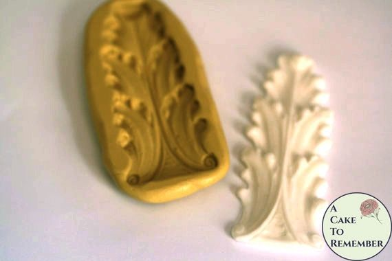Short acanthus leaf scroll silicone mold for cake decorating or polymer clay M5030
