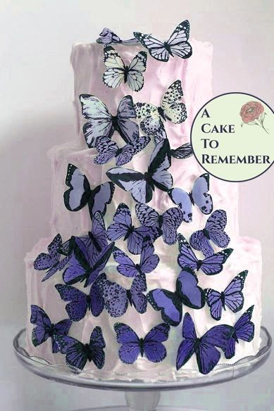 30 blue violet ombre wafer paper edible butterfly set