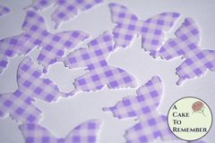 24 purple gingham edible butterflies for cake decorating.