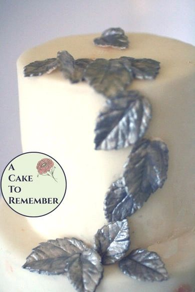 12 Gumpaste silver leaves for cake decorating