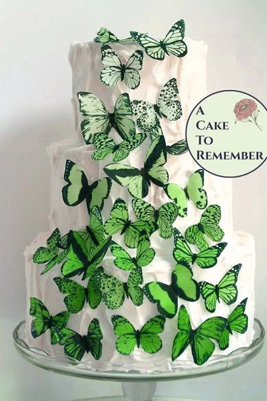 30 green ombre wafer paper edible butterflies for cake decorating and cupcake decorating.
