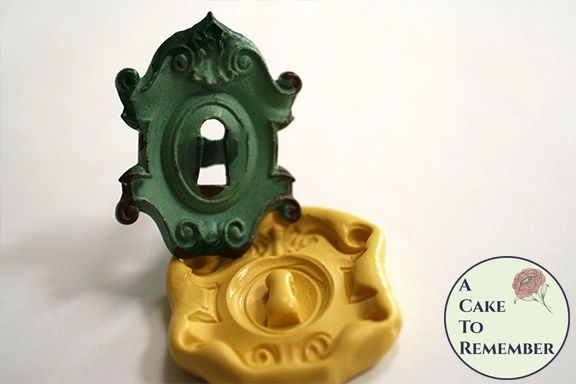 Ornate key hole or lock plate silicone mold M5185