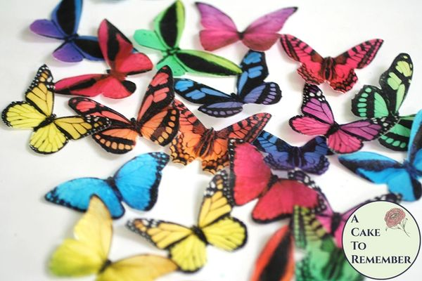 20 rainbow brights edible cake decorating butterfly wedding cake toppers