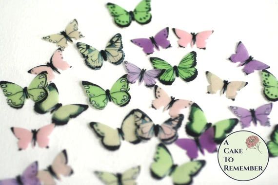 48 small pink, green and purple edible cake decorating butterflies