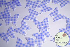 24 blue gingham edible butterflies for cake decorating.