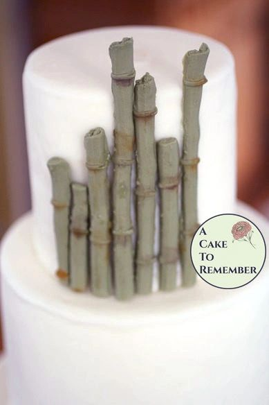 12 pieces of edible gumpaste bamboo for tropical cakes