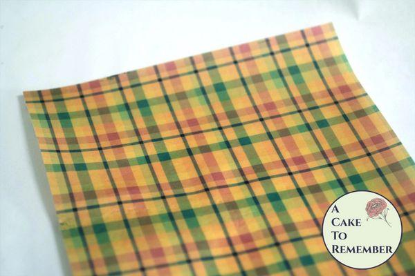 Autumn colors plaid edible wafer paper- 3 sheets