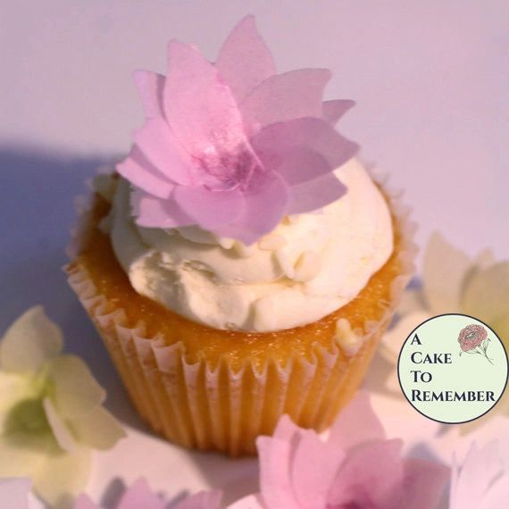 6 Wafer paper flowers for cake decorating, wedding cakes, cupcakes and cake toppers
