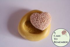 "3/4"" floral heart flexible silicone mold M5146"