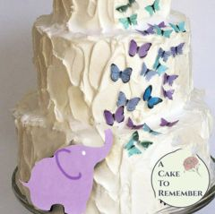 Elephant and butterflies wafer paper cake decoration.
