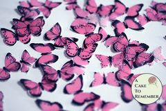 48 small pink edible butterflies for cupcakes