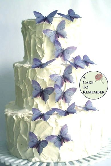 "15 lavender wafer paper cake topper edible butterflies. 2"" wide."